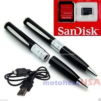 Spy Rec Pen Camera Mini Hidden DVR Surveillance Video Cam USB SILVER +8GB MEM HD
