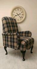 Shabby Chic Black/Grey Lana Tartan small bedroom chair!