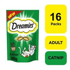 More details for 16 x 60g dreamies cat treats biscuits catnip flavour with vitamins & minerals