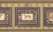 Wallpaper Border Framed Leopard Portraits With Leopard Print On Gold Stripe