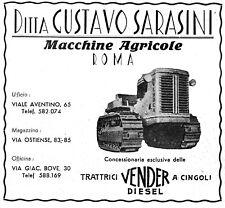 PUBBLICITA' 1949 TRATTORE VENDER CINGOLI MACCHINE AGRICOLE GUSTAVO SARASINI ROMA