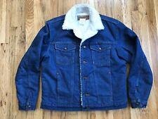 Wrangler Sherpa Lined Western Wear Denim Jean Jacket Faux Fur 74255PW - Men's M