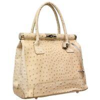 New Ladies Women Genuine Italian Leather Ostrich Effect Shoulder Satchel Handbag