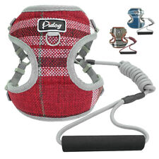 Mesh Breathable Step-in Dog Harness & Rolled Dog Lead Soft Handle for Yorkshire