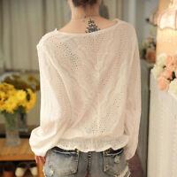 Korean Women Lady Fashion Long Sleeve Slim Lace Hollow V Neck Shirt Tops