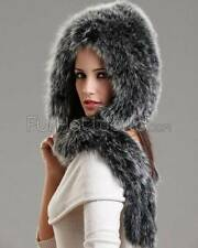 Stacy Black Frost Knit Fox Fur Scarf with Hood -Brand: frr