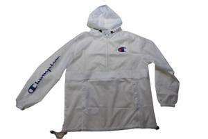 Champion Big & Tall Mens White Hooded Windbreaker Jacket New XLT