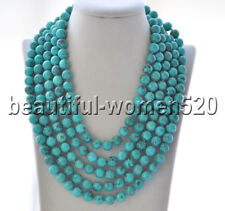 Z9338 10mm Natural Green Round Turquoise Necklace 100inch