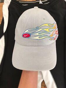 Vintage Nike Flame Hat Center Check Fire Y2K RARE Strapback Fleece