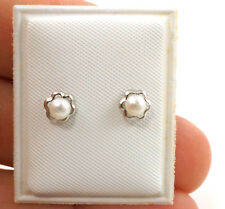 Real Silver Faux Pearl Toddler Kids Earrings Little Girls Safety Back Earrings