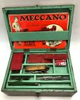 Vintage Job Lot Meccano Mixed Pieces In 3 Tier Wooden Box + Manuals #146