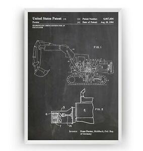 Excavator 1984 Patent Print - Digger Decor Poster Art Gift Blueprint - Unframed