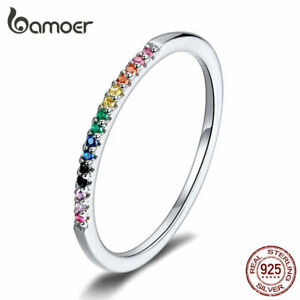 BAMOER Solid S925 Sterling silver Mix-color CZ Finger Ring For Women Jewelry