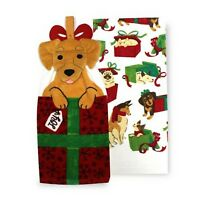 DOG Christmas Presents Kitchen Towels Tie Top 2-pack by St. Nicholas Square SALE