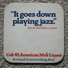 Vintage Colt 45 American Malt Liquor Beer Mat New Orleans Jazz Musician Quote