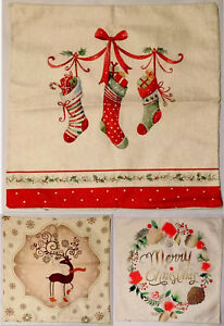 """Christmas Pillow Case Covers Set Of 3, Cotton Linen, Holiday, 18"""" x 18"""", NEW"""