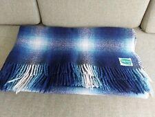 More details for vintage connemara 100% pure wool irish blanket throw travel rug 1.3m x 1.4m