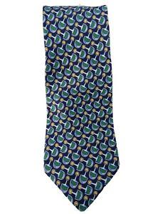"Gucci 100% Silk Blue Green Geometric Pattern Luxury Neck Tie ITALY 50""L  3 3/4""W"