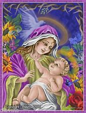 © ART - Mother Mary Virgin and Baby Son Jesus Christ Original Artist Print by Di