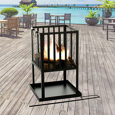 Fire Pit Black Metal Basket Steel Square Wood Log Burner Outdoor Patio Heater