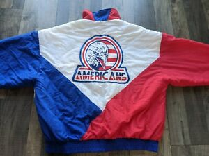 Vintage Tri-City Americans Hockey WHL Jacket Satin 1980s USA made Size L