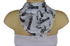 New Women White Silk Western Fashion Soft Scarf Neck Tie Black Gun Pistol Print