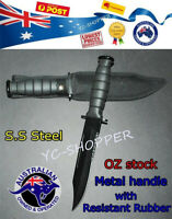 Hunting Knife - RAZOR SHARP BOWIE BLACK MILITARY SS Steel METAL Handle AU Stock