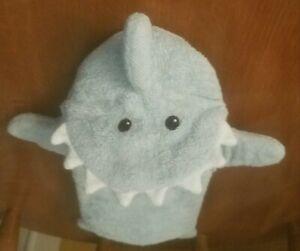 BABY ASPEN Shark Bath Puppet Mitt Blue Gray Let The Fin Begin Teeth Terry Cloth