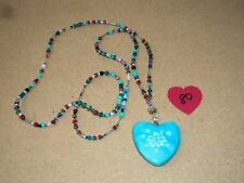 Beautiful Blue Marble Crystal Healing Heart Pendant Necklace #80 NEW