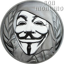 GUY FAWKES MASK - Anonymous - V for Vendetta - 1oz Silver Coin 2016 Cook Islands