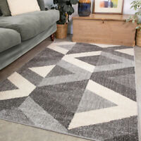 Grey Living Room Rugs | Modern Geometric Rug | Small Large Rugs For Lounge Mats