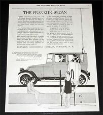 1919 OLD MAGAZINE PRINT AD, FRANKLIN SEDAN AUTOMOBILE, SWIMING POOL FASHION ART!