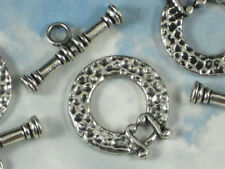 2 sets Toggle Clasps Antique Tibetan Silver Tone Large Hammered Closures #P787