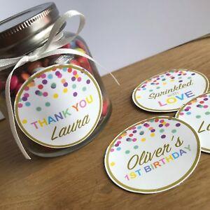 Sprinkles Stickers, Lolly Jar/Lollypop, Personalised Birthday, Baby, Baptism