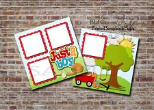 Boy, Outdoors, Sports, Football, 2 PRINTED Premade Scrapbook Pages BLJgraves 90