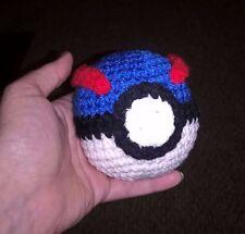"3.5"" - 4"" Pokemon Great Ball Poke Ball Crochet HANDMADE Pokeball Plush Go"