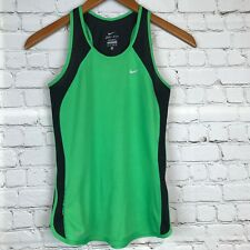 NIKE Womens Dri-Fit Racerback Running Athletic Top Mesh Green Black Sz XS