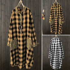 Womens Long Sleeve Loose Button Down Shirt Dress Collared Plaid Check Long Dress