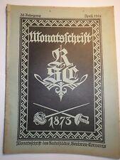 Rudolstädter Senioren-Convent - 1924 4 Monatsschrift RSC / Corps / Heldendenkmal