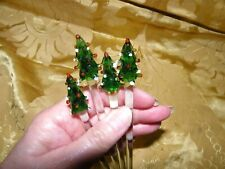VINTAGE MINI GLASS CHRISTMAS TREE SWIZZLE STICKS DRINK STIRRERS