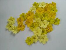 Edible Sugar Yellow Lemon Shaded Veined Flowers Cupcake Cake Topper 30 Wedding