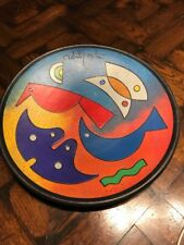 """Vintage Modern Art Pottery Wall Plaque """" Creatures in my Garden� signed ceramic"""