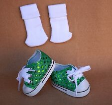 Doll Shoes fitting 18 in American Doll Green Sparkling Tennis Shoes & Socks