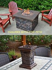 Tortuga Outdoor Backyard Deck Yosemite II Propane Fire Pit + Bonus Table Top Pit