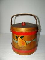 Primitive Hand Painted Signed Wooden Firkin Fruit Design Pail Bucket