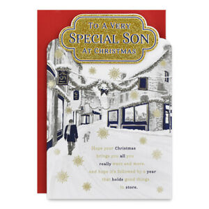 SPECIAL SON CHRISTMAS CARD ~ MODERN DESIGN - QUALITY CARD & LOVELY VERSE