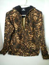 JONES NEW YORK SPORT Leopard Animal Print Hooded Zip Up Track Jacket Top Small
