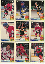 1990-91 TOPPS HOCKEY SCORING LEADERS COMPLETE INSERT SET 1-21