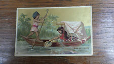 1 x CHROMO TRADE CARDS 1900 Litho ??  SUR LE GANGE Maison Bovar Paris 115x75mm