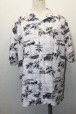 Palm Island Clothing Men Hawaiian Shirt S/L Cars Tropical Cotton Lg Brown